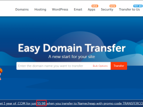 Namecheap  .COM 域名转入,一年仅需要 $5.98