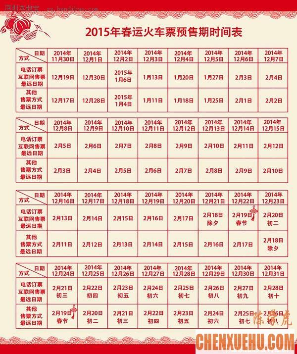 2015年深圳春运火车票购票日历